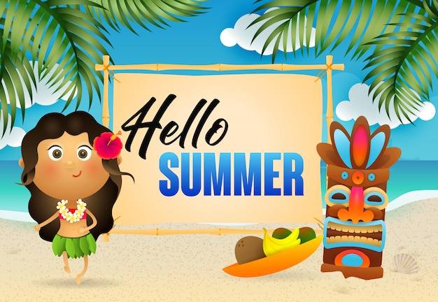 Hello summer lettering with aborigine woman and tribal mask Free Vector