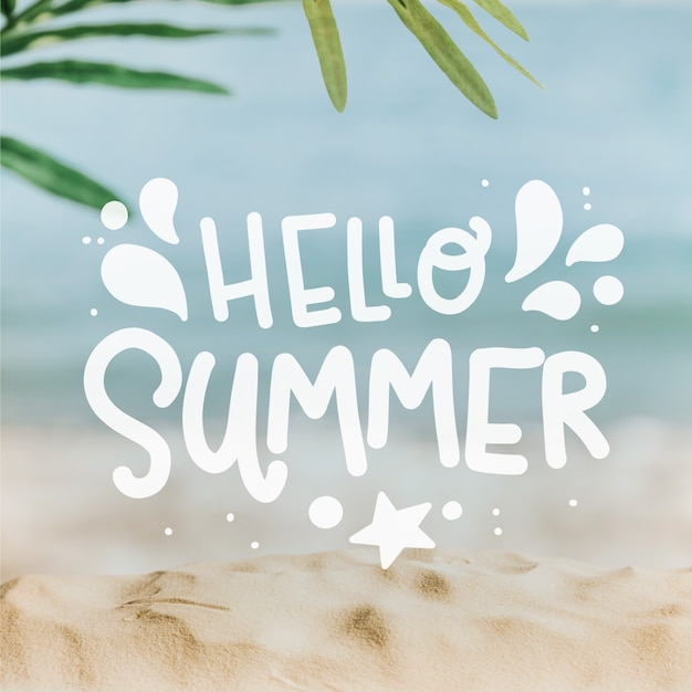Hello summer lettering with beach Free Vector