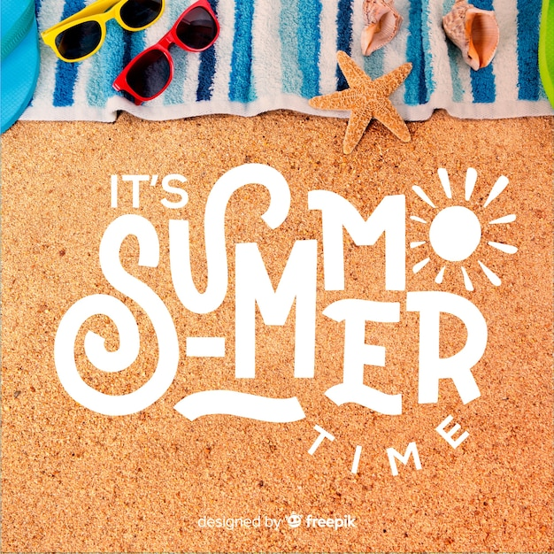 Hello summer lettering with photo Free Vector