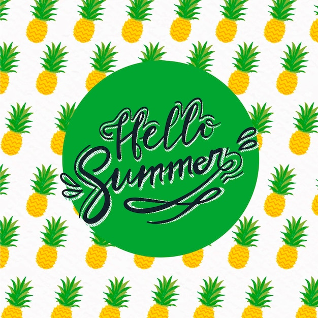 Hello summer lettering with pineapples Free Vector