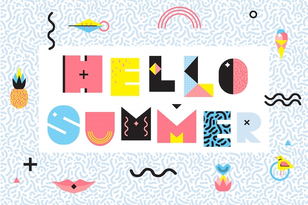 Hello summer memphis style design Free Vector