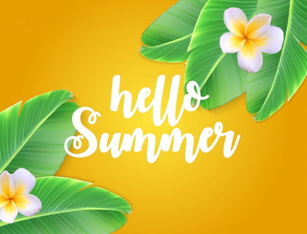 Hello summer natural floral background with frame Premium Vector