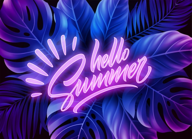 Premium Vector Hello Summer Neon Lettering On A Background Of Exotic Tropical Palm Leaves Led tropical leaf this item ships worldwide. https www freepik com profile preagreement getstarted 8385344