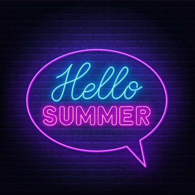 Hello summer neon lettering on brick wall. Premium Vector