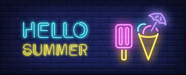 Hello summer neon style lettering. Choc ice and cone icecream on brick background. Free Vector