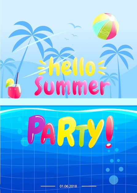 Hello summer party banner design Free Vector