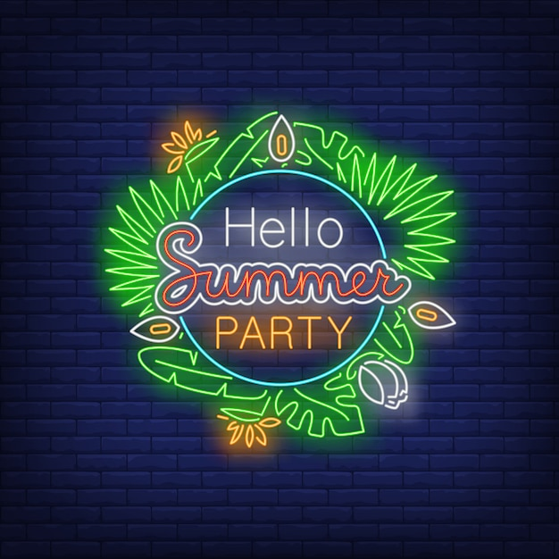 Hello summer party neon text with exotic plants leaves Free Vector