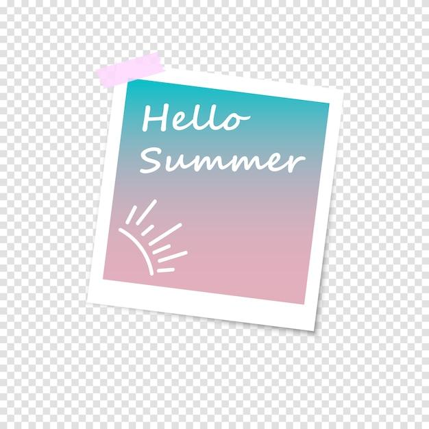 사진 프레임, 모방 폴라로이드 사진. 여름 안녕하세요 프리미엄 벡터