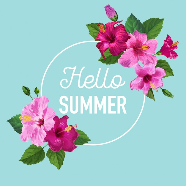 Hello summer poster. floral design with purple hibiscus flowers for t-shirt Premium Vector