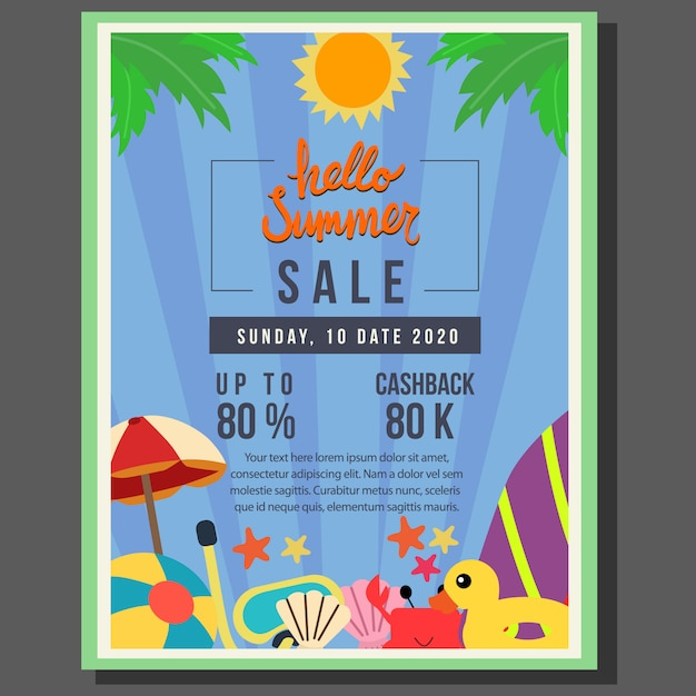 Hello summer poster template sale with flat style border vector illustration Premium Vector
