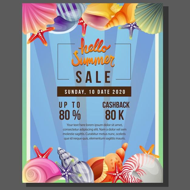 Hello summer poster template sale with sea shell border vector illustration Premium Vector