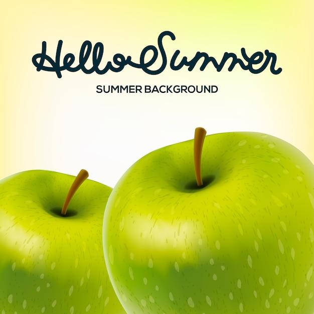 Здравствуйте, летний плакат с яблоками, иллюстрация. Premium векторы