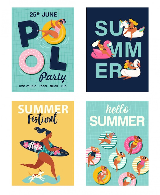 Hello summer posters set Premium Vector
