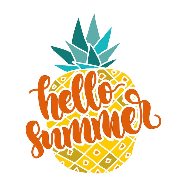 Hello Summer Quotes Lettering With Pineapple Vector Premium Download