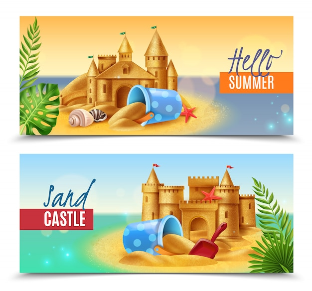 Hello summer realistic banners Free Vector