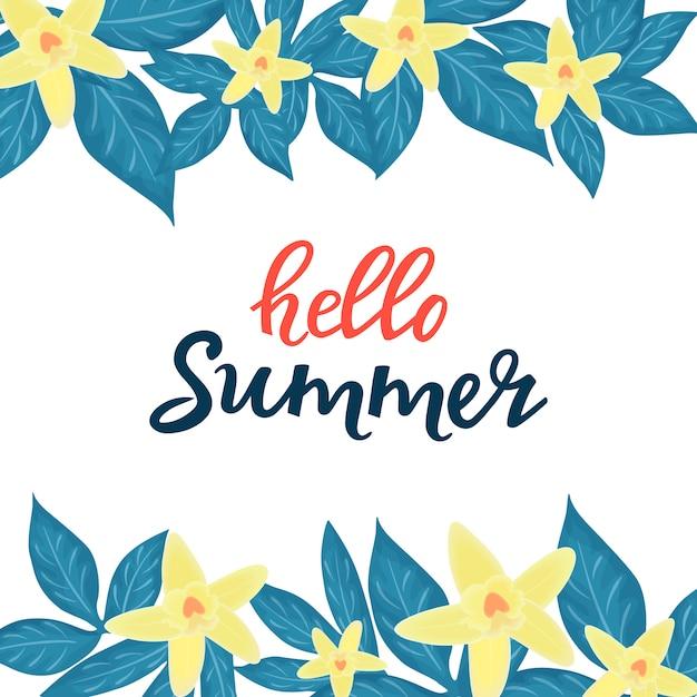 안녕하세요 여름 세일 광고 계절 할인. 노란 난초와 꽃 포스터 또는 배너 디자인 프리미엄 벡터