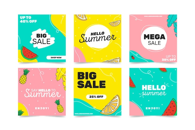 Hello summer sale instagram post collection Free Vector