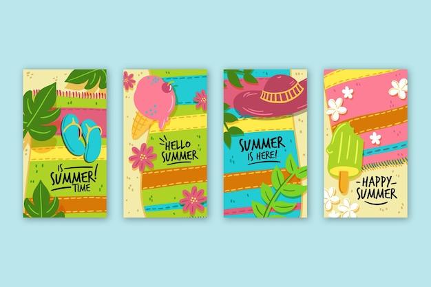 Hello summer sale instagram stories pack Free Vector