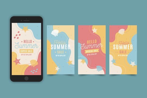 Hello summer sale instagram stories set Free Vector