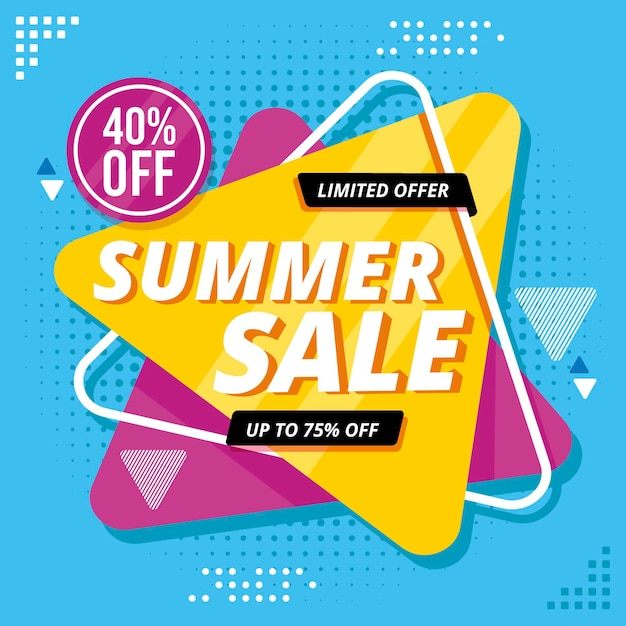 Hello summer sale with discount Free Vector