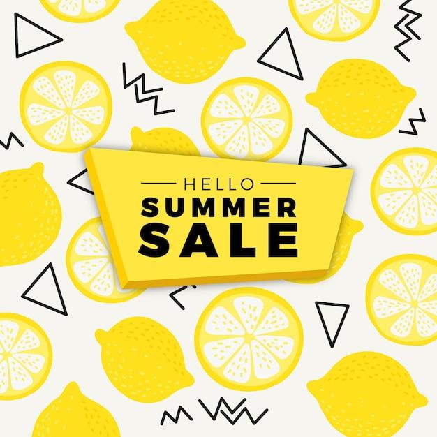 Привет летняя распродажа с лимонами Бесплатные векторы