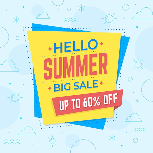 Hello summer sale with offer Free Vector