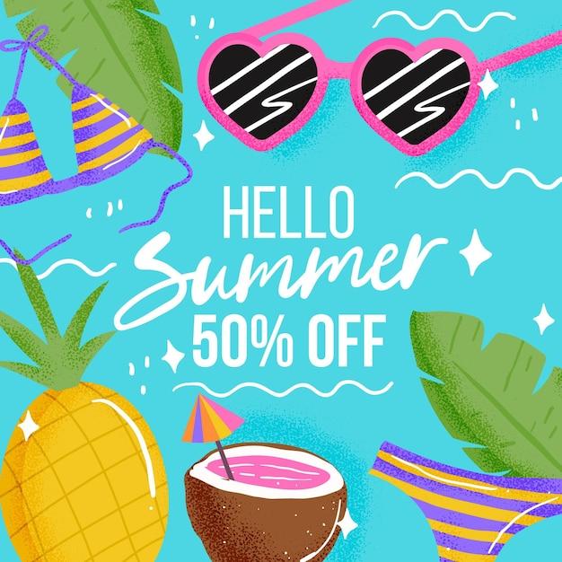 Привет летняя распродажа с ананасом и кокосом Бесплатные векторы