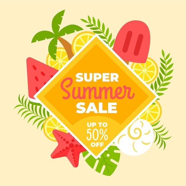 Привет летняя распродажа с эскимо и арбузом Бесплатные векторы
