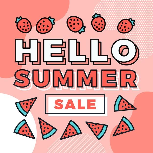 Привет летняя распродажа с клубникой и арбузом Бесплатные векторы