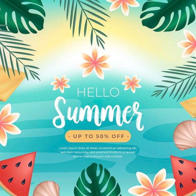 Привет летняя распродажа с арбузом и листьями Бесплатные векторы