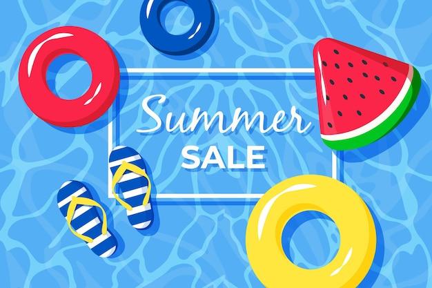 Привет летняя распродажа с арбузом и водой Бесплатные векторы