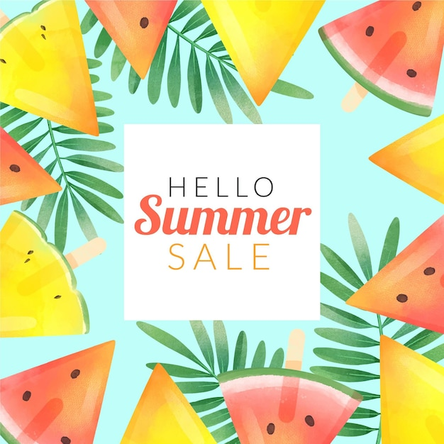 Привет летняя распродажа с арбузом Бесплатные векторы