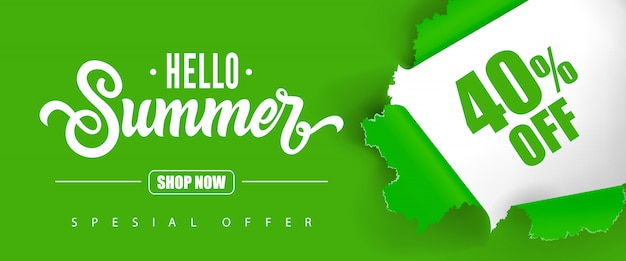Hello summer shop now special offer forty percent off lettering. Free Vector