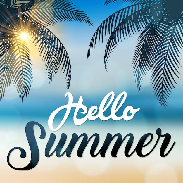 Hello summer sign Premium Vector