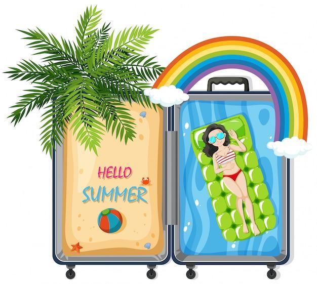 Hello summer in suitcase Premium Vector