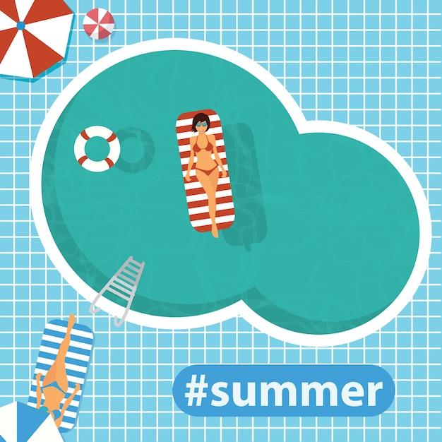 Hello summer. swimming pool. flat vector illustration Premium Vector