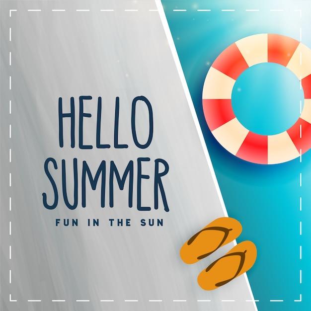 Hello summer swimminh pool card Free Vector