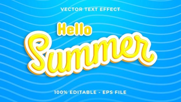 Текстовый эффект hello summer Premium векторы