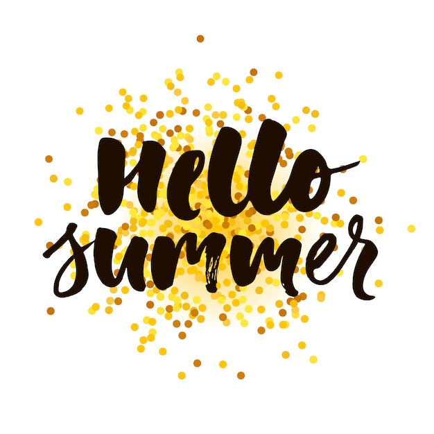 Hello summer text lettering calligraphy phrase gold Premium Vector