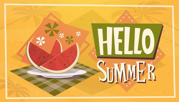 Hello summer time watermelon vacation sea travel retro banner seaside holiday Premium Vector