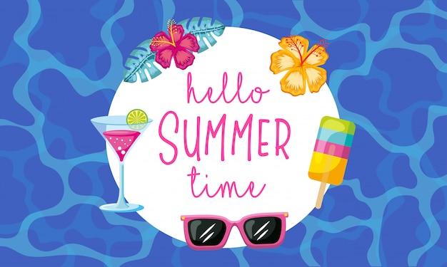 Hello summer time Premium Vector