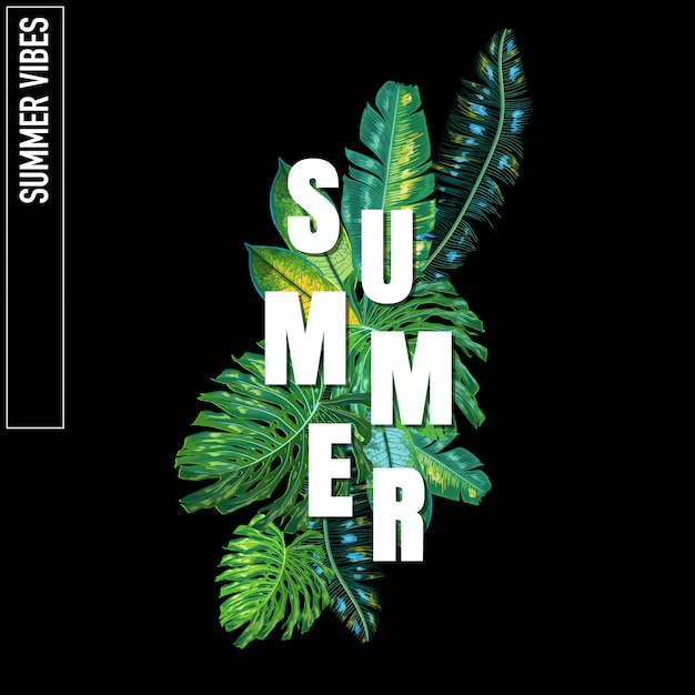 Hello summer tropical design with palm leaves Premium Vector
