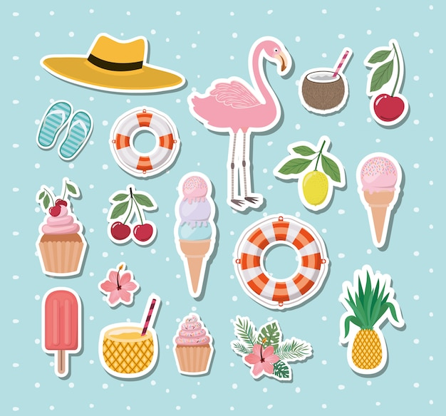 Hello summer and vacation stickers design Premium Vector