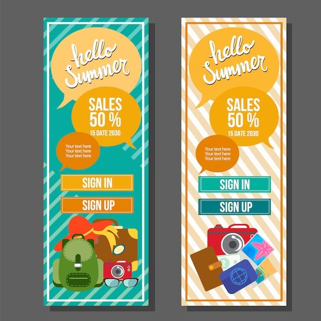 Hello Summer Vertical Banner Template Vintage Travel