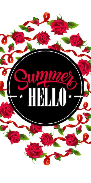 hello summer vertical banner with red ribbons and roses vector
