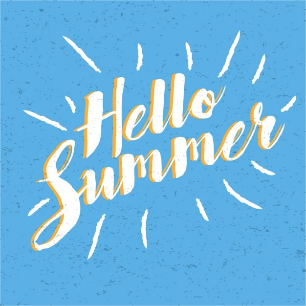 Hello summer vintage lettering Free Vector