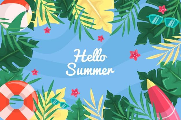こんにちは夏の水と葉の背景 無料ベクター
