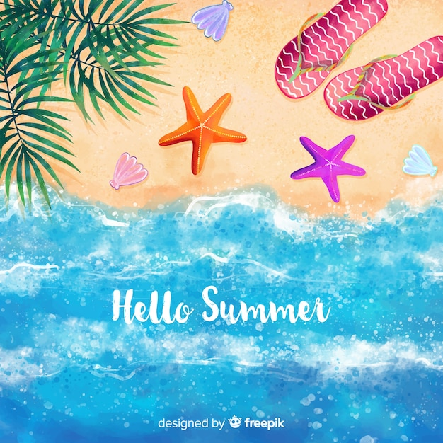 Hello summer watercolor background Free Vector