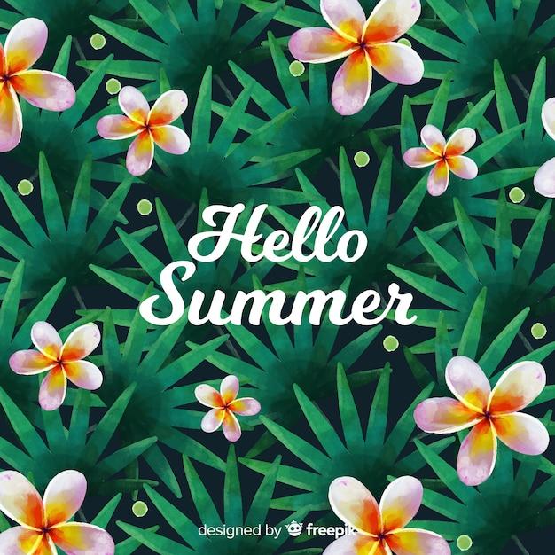 Hello summer watercolor background Free Vector