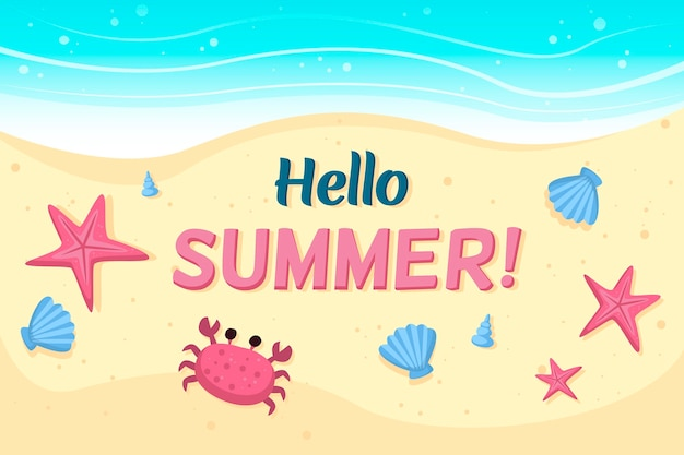 Hello summer with beach and crab Free Vector
